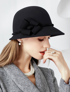 Disfraz Carnaval Sombrero de campana de invierno Vintage lana gris oscuro flor mujeres trajes accesorios para el cabello Carnaval