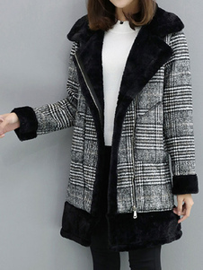 Casaco de Inverno Xadrez Gola de Pele Artificial Long Sleee Casaco de Lã Sobredimensionado Com Bolsos