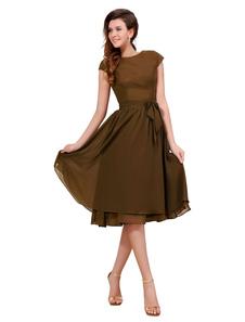 Vestidos de fiesta cortos Vestido de cóctel 2020 marrón con escote redondo con manga corta con lazo