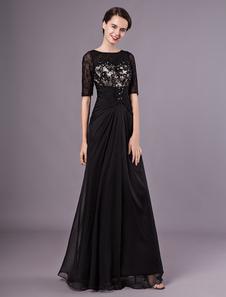 Черные вечерние платья Половинные рукава Кружева Бисероплетение Шифон длинные формальные платья