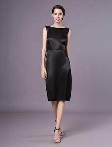 Винтаж черный Bateau шеи Шелковый коктейльное платье