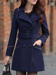 Pea Coat colarinho escuro de abertura de cama da Marinha manga longa Breasted dobro Coat lã Wrap do mulheres
