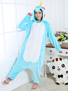 Pijamas Kigurumi Unicornio Onesie Light Sky Blue Flannel Animal Winter Ropa de dormir para adultos Unisex con cremallera Traje de Halloween