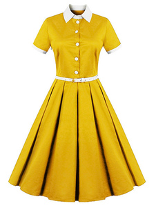 1950s Yellow Vintage Short Sleeve Belted Retro Swing Dress