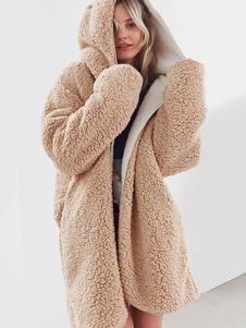Mulheres Reversível Faux Fur Coat Com Capuz Manga Longa Multi Way Casaco De Inverno