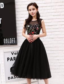 ليتل الأسود فساتين قصيرة تول كوكتيل اللباس الزهور مطرزة الشاي طول حزب فساتين