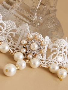 Classico Lolita Girocollo Collana con perle di pizzo bianco Lolita