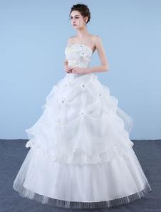 プリンセスウェディングドレス ボールガウン ストラップレス アイボリー ビーズ フロア丈 ブライダルドレス 2020