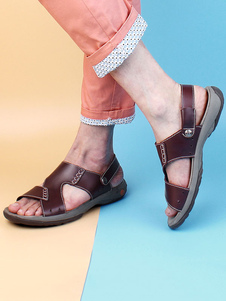 Sandalias planas para hombres Zapatillas de sandalias con punta abierta en piel de vaca marrón