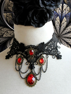 Collana con Lolita gotica Collana con collier gioiello in metallo Lolita nera