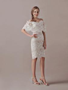 Vestido de noiva Bohemian 2020 de renda em forma de apertado decote V def-shoulder Cintura Natural Fecho cauda até ao joelho cor de champanhe