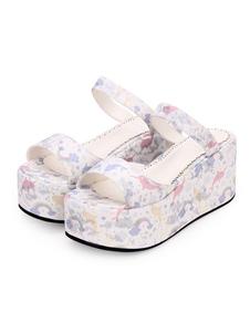 Sweet Lolita Slides Print PU Wedge Heel Platform Sandalias Lolita