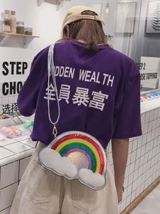 Sweet Lolita Bag Rainbow Cloud Lazer Sequin PU Lolita наплечная сумка