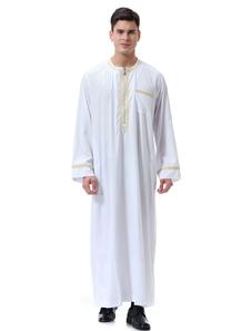 Tuta arabica Abaya Piping Pocket girocollo manica lunga Ecru bianco Arabian Robe