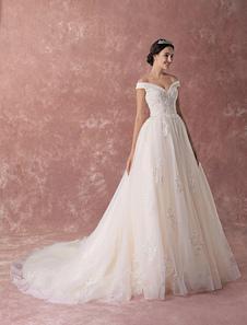 Vestidos De Noiva De Princesa Vestido De Baile Champagne Fora Do Ombro Do Laço Beading Vestido De Noiva De Luxo Com Trem