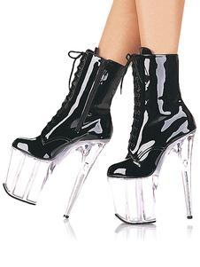 Plataforma de mulheres sexy preto botas ata acima Botas de salto alto botas de fantasia