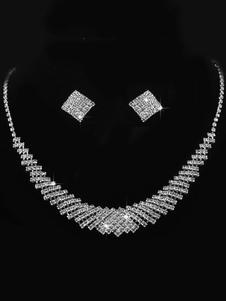 Комплект ювелирных изделий с бриллиантами из серебра