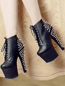 Черные сексуальные ботинки на платформе с миндальными заклепками на шнуровке Сапоги на высоком каблуке