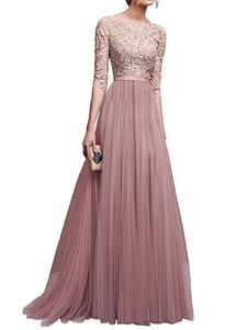 Vestido comprido 2020 gola redonda com mangas de 1/2 De Chiffon Elegante  e luxurioso