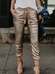 Calças com lantejoulas douradas com cordão na cintura cintura elástica para mulher