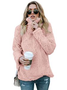 Teddy Bear Пуловер с капюшоном Женщины с длинным рукавом Половина молнии из искусственного меха с капюшоном Верхняя одежда