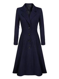 Women Swing Coat 1950s Long Sleeve Turndown Collar Fit Flare Winter Coat