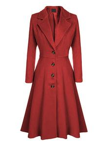 Качели женщин 1950-х годов с отложным воротником отложным воротником Fit Flare зимнее пальто
