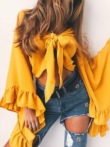 Blusas de gasa para mujeres 2020 Blusa de manga larga con cuello en V Anudado irregular