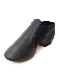 Black Jazz Shoes Pigskin Круглый носок Эластичная деталь Slip On Dance Shoes For Women