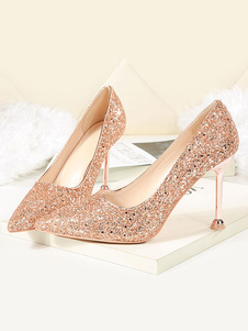 Glitter Prom Shoes Champagne Punta a punta Tacchi alti Scarpe da donna