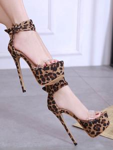 Sandali con tacco alto in pelle scamosciata piattaforma Leopard con tacco a spillo sandali sexy per le donne