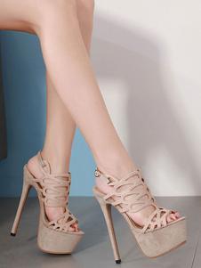 المرأة مثير صنادل الجلد المدبوغ منهاج تو فتح قص خارج الخنجر كعب صندل أحذية
