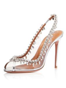 Scarpe da sera da ballo con tacco alto e strass trasparenti con tacchi trasparenti da donna