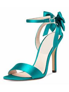 Sandalias de tacón alto Satén Punta abierta Arco Correa del tobillo Zapatos de fiesta Mujeres Zapatos de baile