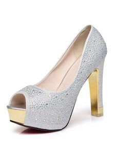 Scarpe da sera per donna Argento Plateau Peep Toe Strass Slip On Evening Shoes Glitter Tacchi alti