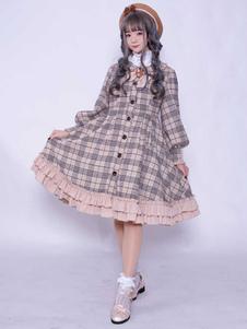 Abrigo clásico de Lolita abrigo con volantes de tela escocesa con botones hasta lolita