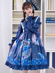 Clássico Lolita OP Vestido Baleia Nebulosa Imprimir Arco Ruffle Lolita Azul Vestido De Uma Peça