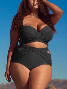 Plus Size Swimwear Mulheres Atadas Ruched De Cintura Alta Bikini