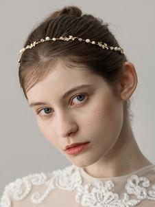 Headpieces frisados do Headband do casamento do ouro Acessórios nupciais do cabelo