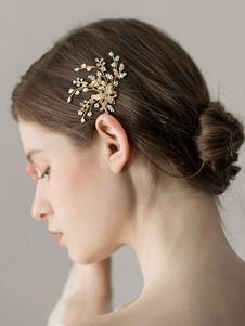 Pêlos De Cabelo Do Casamento De Ouro Pérolas Frisadas Headpieces Acessórios De Cabelo De Noiva
