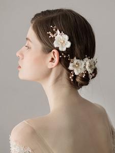 Свадебные заколки для волос с цветами из бисера