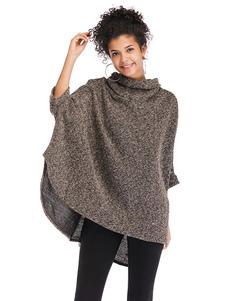 Mulheres de Casaco de Poncho de gola alta dividir Outerwear Oversized