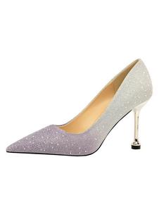 Glitter Sapatos De Noite Mulheres De Salto Alto Dedo Apontado Salto De Estilete Deslizamento Em Sapatos De Festa