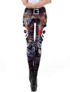 Costume Carnevale Pantalone da sposa cadavere Halloween Yoga Skull Women 3D Print Pantaloni sportivi da yoga