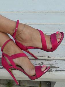 Sandálias De Salto Alto Camurça Aberta Toe Strappy Tira No Tornozelo Sandália Sapatos Para As Mulheres
