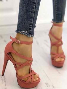 Сандалии на высоком каблуке Женские босоножки на платформе с открытым носком