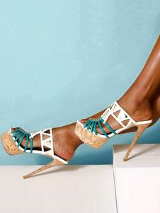 صنادل عالية الكعب الأبيض منصة مفتوحة اصبع القدم قطع صندل شباشب أحذية نسائية مثير