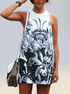 Vestido de playa para mujer Vestido floral de verano Vestido de túnica sin mangas estampado