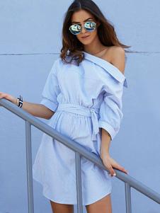 Beach Dress For Women Blue 2020 Camicia a righe Mezza manica asimmetrica Collo Abito casual