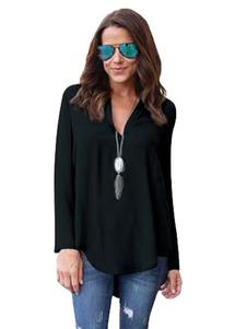 Camicia donna in chiffon con maniche lunghe oversize con scollo a V